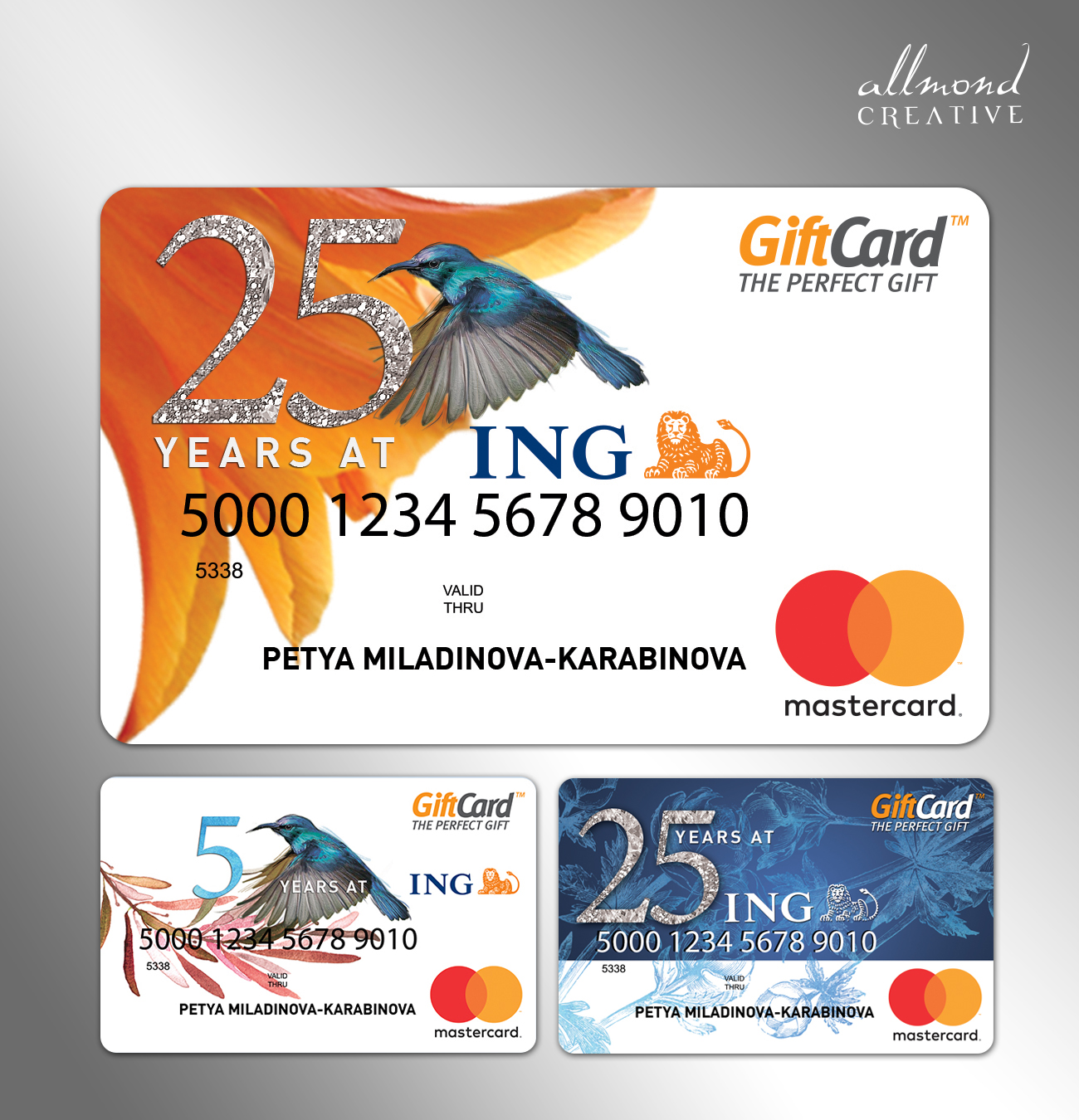 ING corporate gift cards design by allmond
